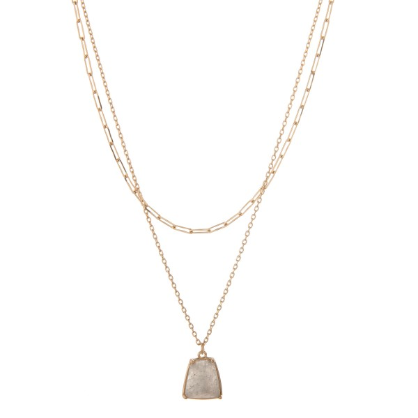 """Gold chain layered semi precious necklace.  - Pendant approximately .5""""  - Shortest layer approx. 13"""" - Approximately 16"""" in length overall with 3"""" extender"""