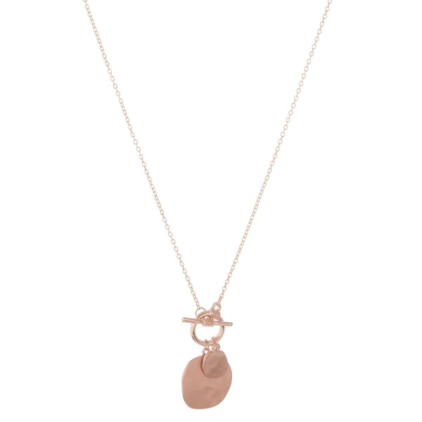 """Hammered modern disc toggle bar necklace.  - Pendant approximately 1"""" in diameter - Approximately 20"""" in length with 3"""" extender"""