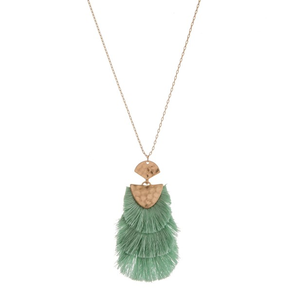 """Long hammered hinge fringe tassel pendant necklace.  - Pendant approximately 3.5"""" in length - Approximately 38"""" in length overall with 3"""" extender"""