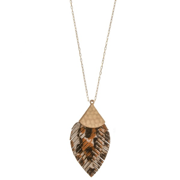 Wholesale long doubled genuine leather leopard print feather pendant necklace Pe