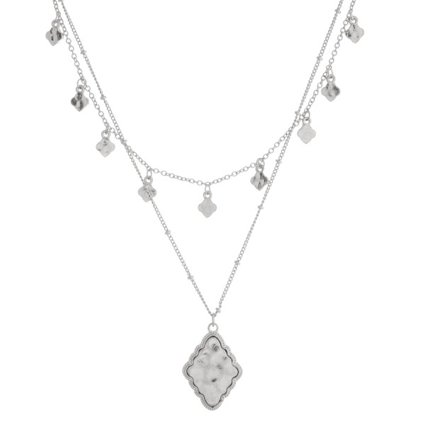"""Layered moroccan pendant necklace.  - Pendant approximately 1"""" in length - Shortest layer approximately 12"""" in length - Approximately 16"""" in length overall with 3.5"""" extender"""