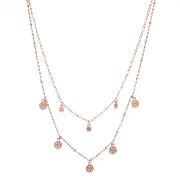 """Layered flower textured disc necklace.  - Shortest approximately 12"""" in length  - Approximately 14"""" in length overall with 3.5"""" extender"""