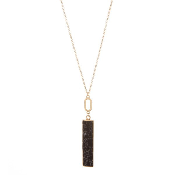 """Long semi precious bar pendant necklace.  - Pendant approximately 3"""" in length - Approximately 34"""" in length overall with 3"""" extender"""