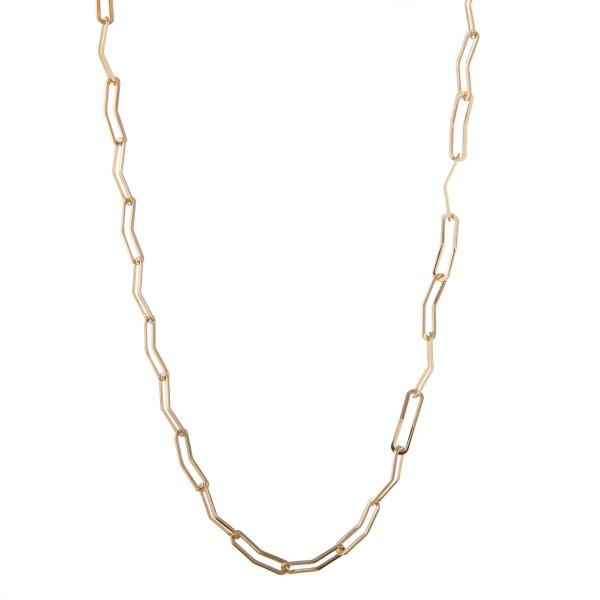 """Lightweight gold brass curved cable chain linked necklace.  - Approximately 15"""" in length with 3"""" extender"""