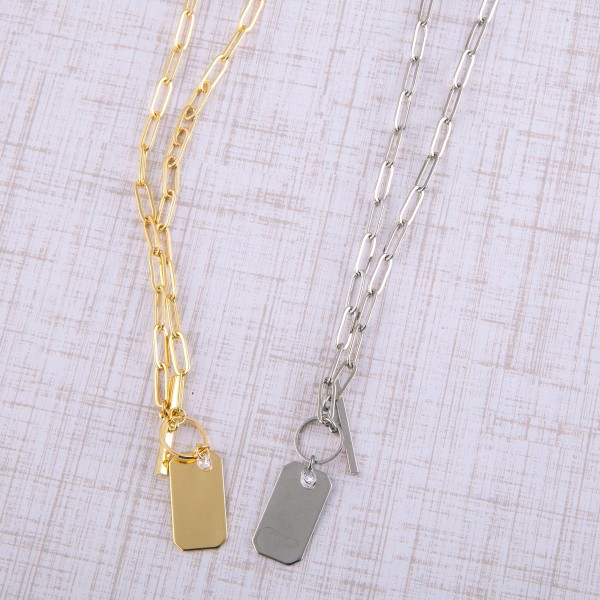 """Metal cable chain linked engravable pendant necklace with toggle clasp.  - Pendant approximately 1"""" - Approximately 20"""" in length"""