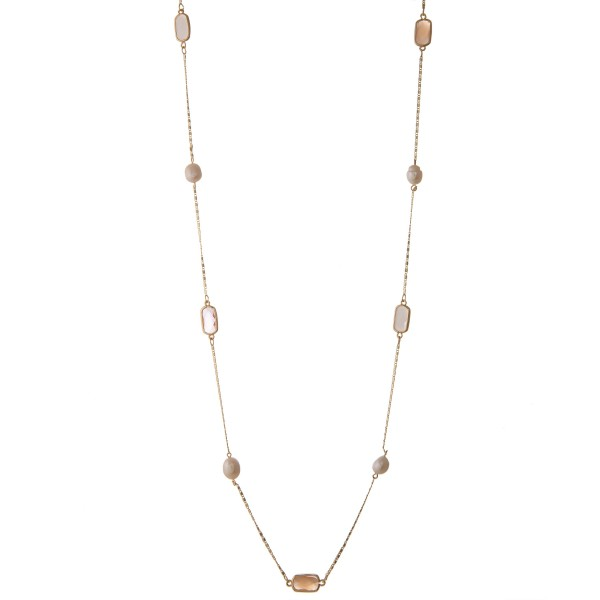 """Long semi precious pearl beaded necklace.  - Approximately 34"""" in length with 2"""" extender"""