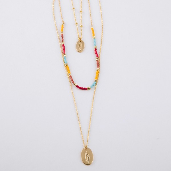 """Multicolor seed beaded layered feather engraved boho necklace.  - Shortest layer approximately 14"""" in length - Approximately 24"""" in length overall with 3"""" extender"""
