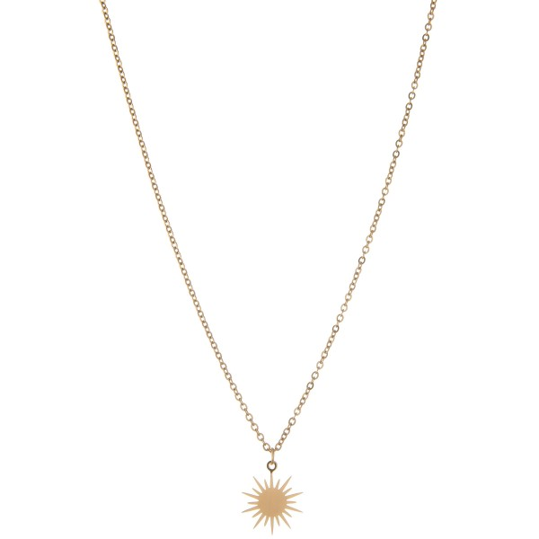 "Dainty gold starburst pendant necklace.  - Pendant approximately .5"" in diameter - Approximately 16"" L - 2.5"" extender"