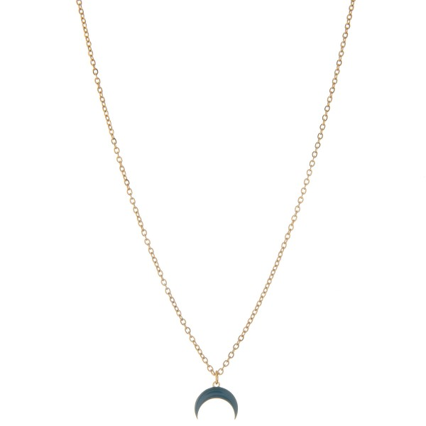 "Dainty shiny enamel coated crescent necklace.  - Pendant approximately 1cm - Approximately 16"" L - 2.5"" extender"