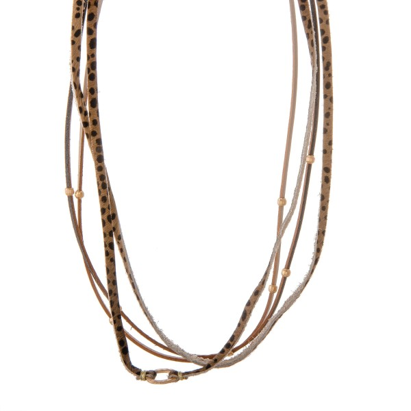 """Multi strand genuine leather cheetah print necklace.  - Approximately 16"""" in length with 3"""" extender"""