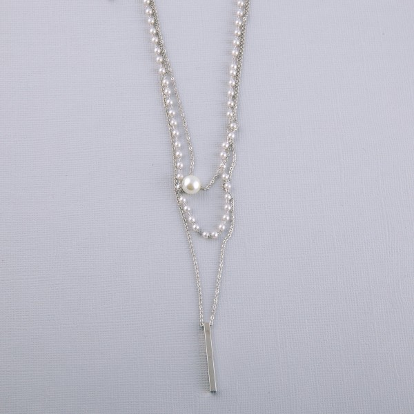 "Pearl beaded layered bar necklace.  - Shortest layer approximately 12"" in length - Approximately 18.5"" in length overall with 3"" extender"