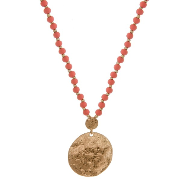 """Long wood beaded hammered pendant bohemian necklace.  - Pendant approximately 2"""" in length and 1.5"""" in diameter - Approximately 36"""" in length overall with 3.5"""" extender"""