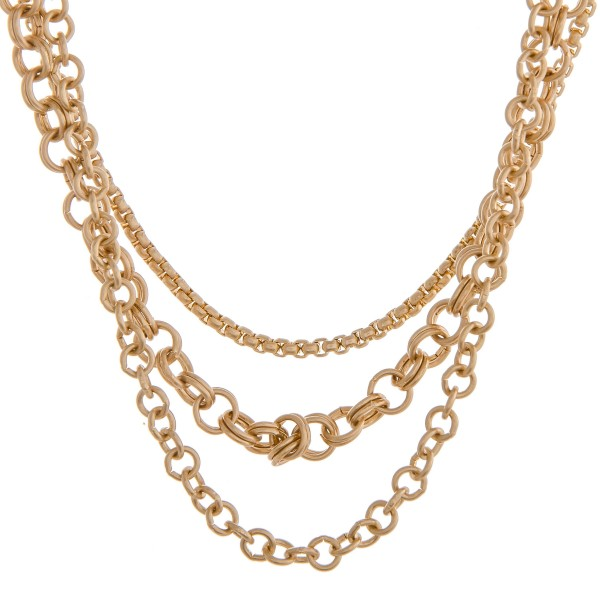 """Chunky gold layered necklace.  - Shortest layer approximately 12"""" in length - Approximately 16"""" in length overall with 3"""" extender"""