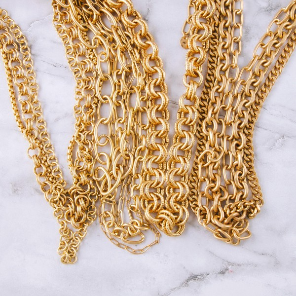 """Gold chain linked layered necklace.  - Shortest layer approximately 14"""" in length  - Approximately 18"""" in length overall with 3"""" extender"""