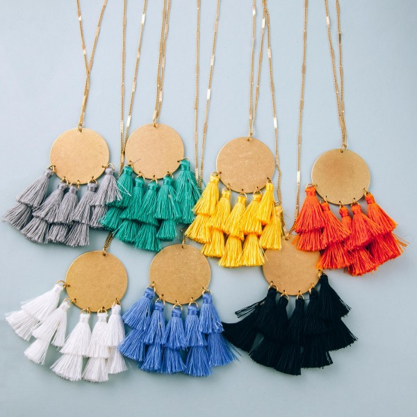 """Long fan tassel bohemian pendant necklace.  - Pendant approximately 3"""" in length - Approximately 38"""" in length overall with 3"""" extender"""