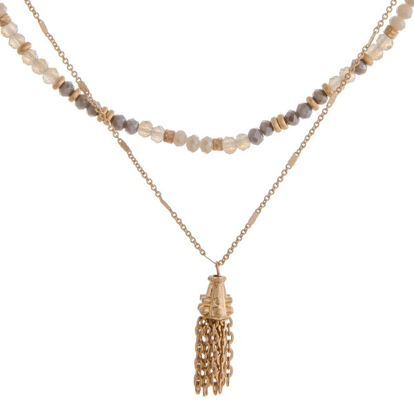 """Beaded layered metal tassel bohemian necklace.  - Shortest layer approximately 14"""" in length  - Approximately 16"""" in length overall with 3"""" extender"""
