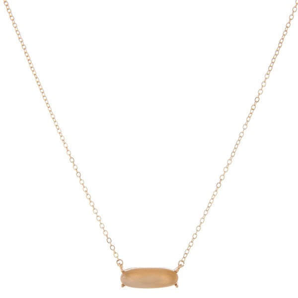 """Natural stone bar pendant necklace.  - Pendant approximately 1""""  - Approximately 18"""" in length with 3"""" extender"""