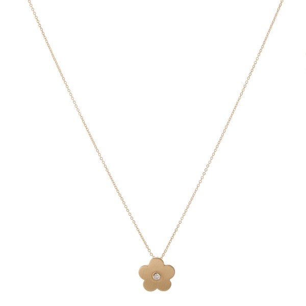 "Matte gold rhinestone flower pendant necklace.  - Pendant approximately .75"" in diameter - Approximately 18"" in length with 2.5"" extender"
