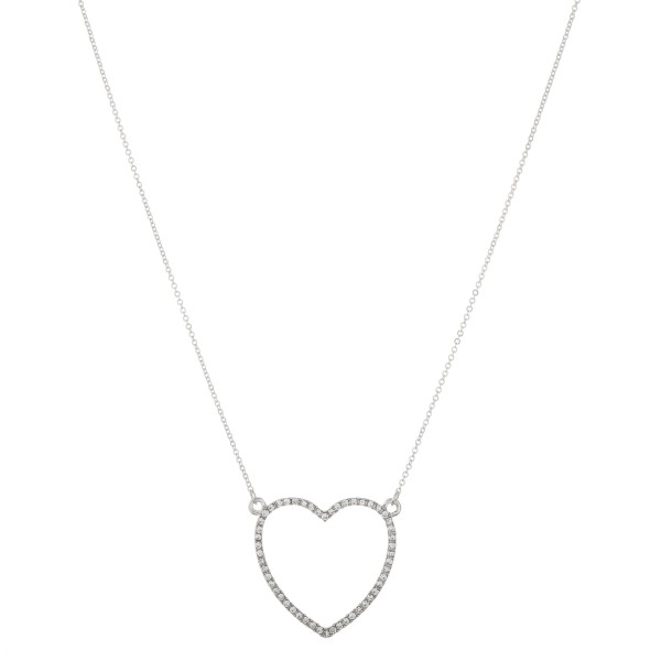 "Rhinestone heart pendant necklace.  - Pendant approximately 1""  - Approximately 18"" L - 2.5"" extender"