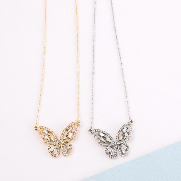 "Rhinestone butterfly pendant necklace.  - Pendant approximately 1""  - Approximately 18"" L  - 2.5"" extender"