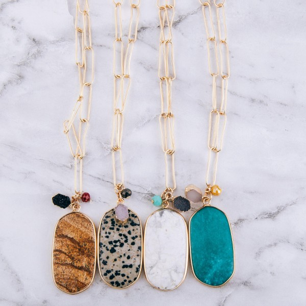 """Gold cable link semi precious necklace with druzy accent.  - Pendant approximately 2""""  - Approximately 22"""" L with 2"""" extender"""