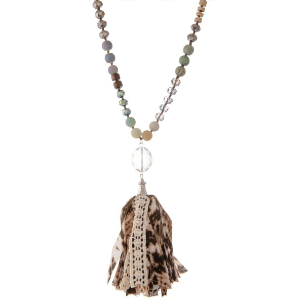 """Long semi precious beaded snakeskin fabric tassel statement necklace with crochet detail.  - Pendant approximately 5""""  - Approximately 40"""" L - 3"""" extender"""