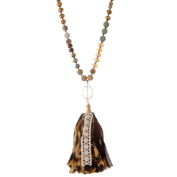 """Long semi precious beaded leopard print fabric tassel statement necklace with crochet detail.  - Pendant approximately 5""""  - Approximately 40"""" L - 3"""" extender"""