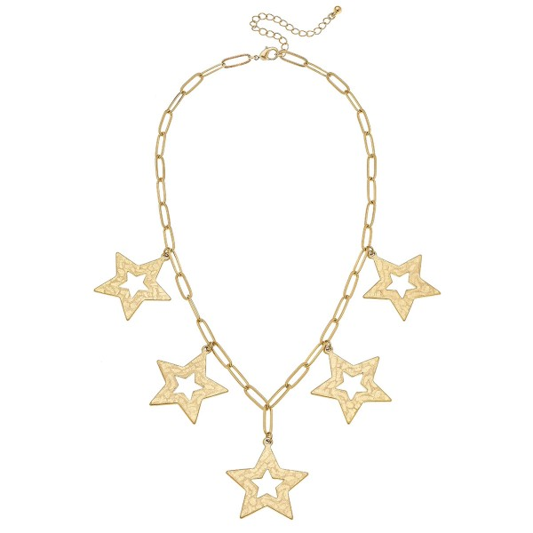 """Worn Gold Hera link hammered star cut out statement necklace.  - Approximately 18"""" L  - 3"""" extender"""