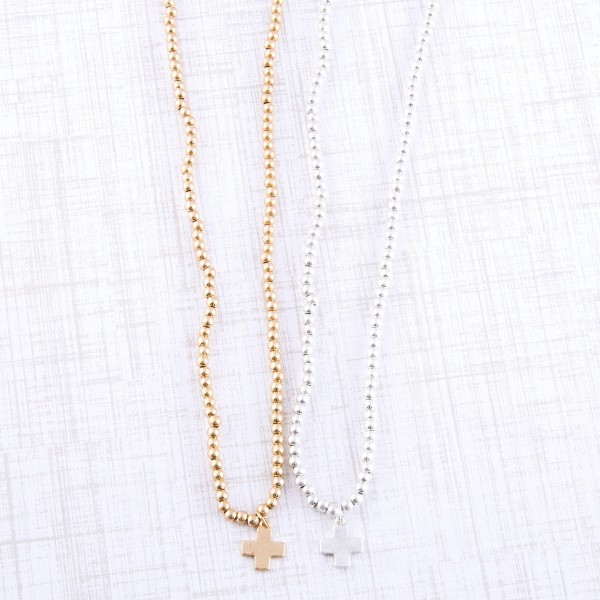 """Worn Gold sphere beaded cross necklace.  - Pendant approximately 1cm - Approximately 16"""" L - 3"""" extender"""