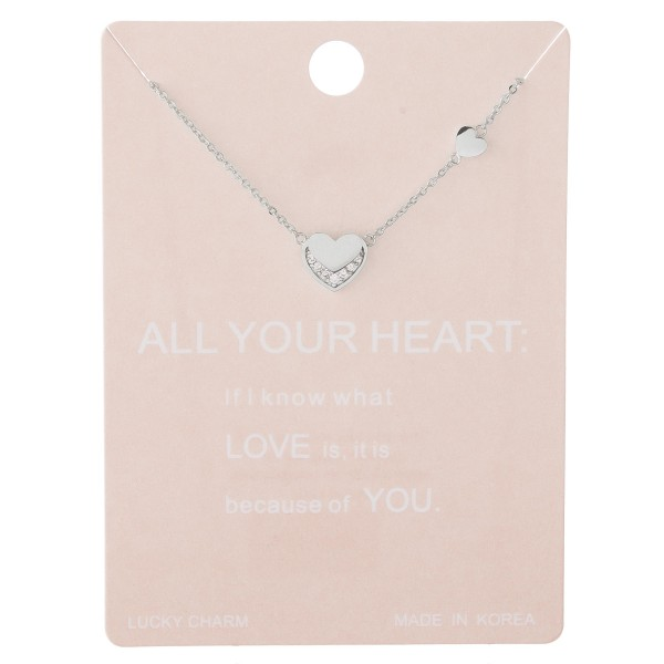 "Dainty rhinestone nested heart lucky charm necklace.  - Pendant approximately 1cm - Approximately 15"" L with 2"" extender"