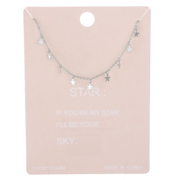 "Dainty star dangle lucky charm necklace.  - Approximately 15"" L with 2"" extender"
