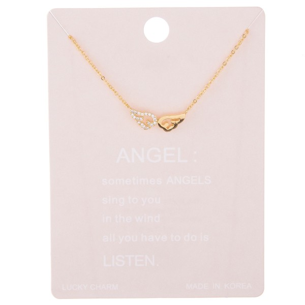 "Dainty rhinestone angel wing lucky charm necklace.  - Pendant approximately .5""  - Approximately 15"" L with 2"" extender"