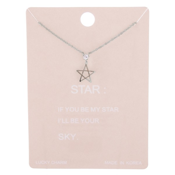 "Dainty pentagon star lucky charm necklace with rhinestone accent.  - Pendant approximately 1cm - Approximately 15"" L with 2"" extender"