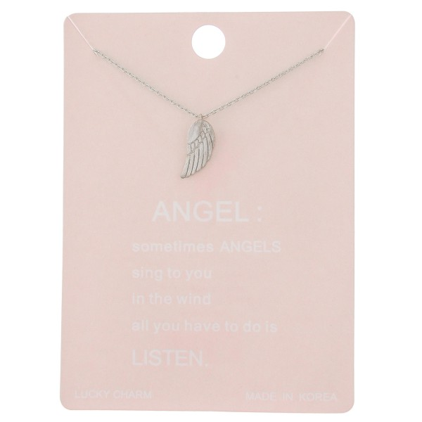 "Dainty angel wing lucky charm necklace.  - Pendant approximately .5"" - Approximately 16"" L - 2"" extender"