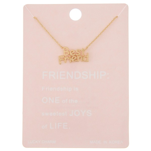 "Dainty ""Best Friends"" lucky charm necklace.  - Pendant approximately .75"" - Approximately 16"" L - 2"" extender"