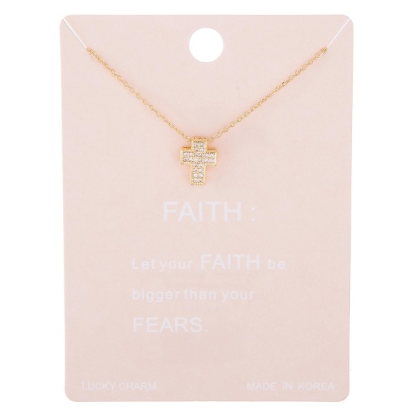 """Dainty rhinestone box cross lucky charm necklace.  - Pendant approximately 1cm - Approximately 15"""" L with 2"""" extender"""