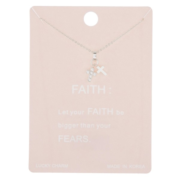 "Dainty rhinestone faith lucky charm necklace.  - Pendant approximately 1cm  - Approximately 16"" in length with 2"" extender"