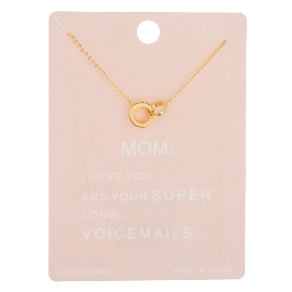 """Dainty rhinestone circle linked mom lucky charm necklace.  - Pendant approximately 1cm in diameter - Approximately 16"""" in length with 2"""" extender"""