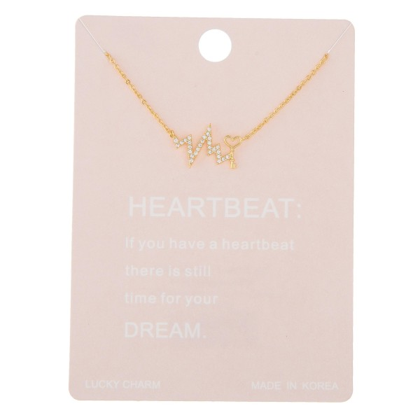"""Dainty rhinestone heartbeat lucky charm necklace with love key detail.  - Pendant approximately .5""""  - Approximately 16"""" in length with 2"""" extender"""