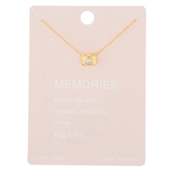 "Dainty memories camera lucky charm necklace.  - Pendant approximately 1cm - Approximately 16"" in length with 2"" extender"