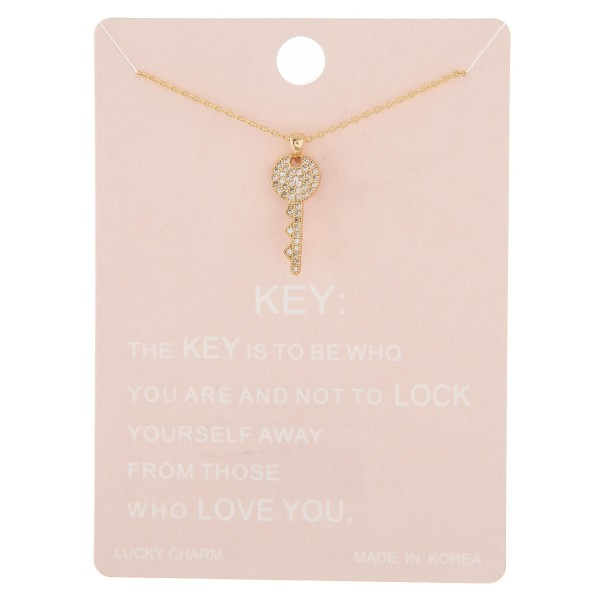 "Dainty rhinestone key lucky charm necklace.  - Pendant approximately .5""  - Approximately 16"" in length with 2"" extender"