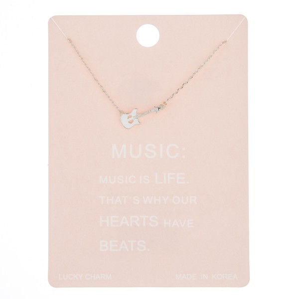 "Dainty guitar lucky charm necklace.  - Pendant approximately 12mm - Approximately 16"" in length with 2"" extender"