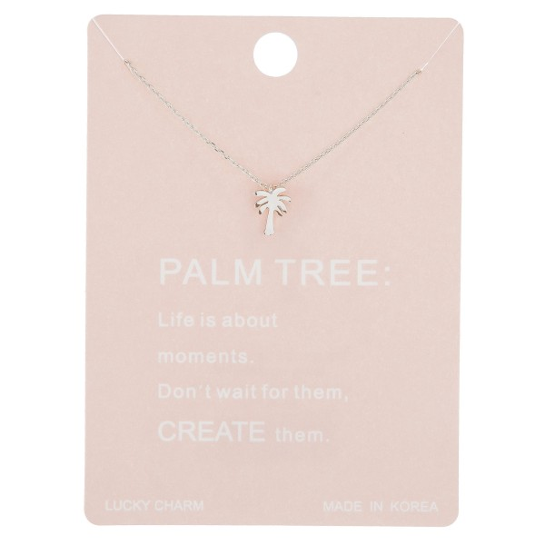 """Dainty palm tree lucky charm necklace.  - Pendant approximately 1cm - Approximately 16"""" in length with 2"""" extender"""
