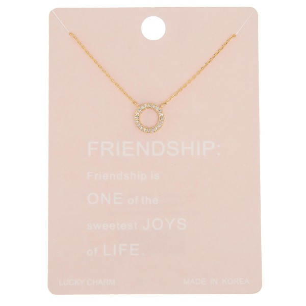 """Dainty rhinestone circle of friendship lucky charm necklace.  - Pendant approximately 1cm in diameter - Approximately 16"""" in length with 2"""" extender"""