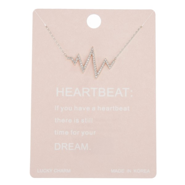 "Dainty rhinestone heartbeat lucky charm necklace.  - Pendant approximately 1"" - Approximately 16"" in length with 2"" extender"