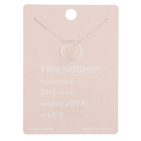 """Dainty circle of friendship lucky charm necklace.  - Pendant approximately .5"""" in diameter - Approximately 16"""" in length with 2"""" extender"""
