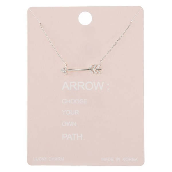 "Dainty rhinestone arrow lucky charm necklace.  - Pendant approximately 1"" - Approximately 16"" in length with 2"" extender"