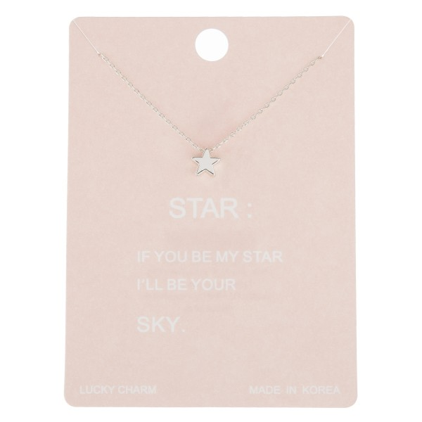 "Dainty star lucky charm necklace.  - Pendant approximately 5mm - Approximately 16"" in length with 2"" extender"