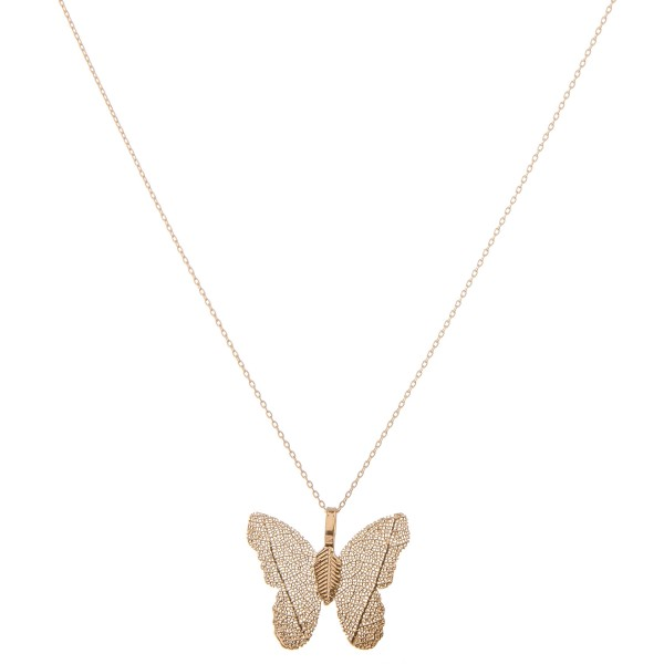 "Gold dipped filigree butterfly pendant necklace.  - Pendant approximately 1""  - Approximately 18"" L  - 2"" extender"