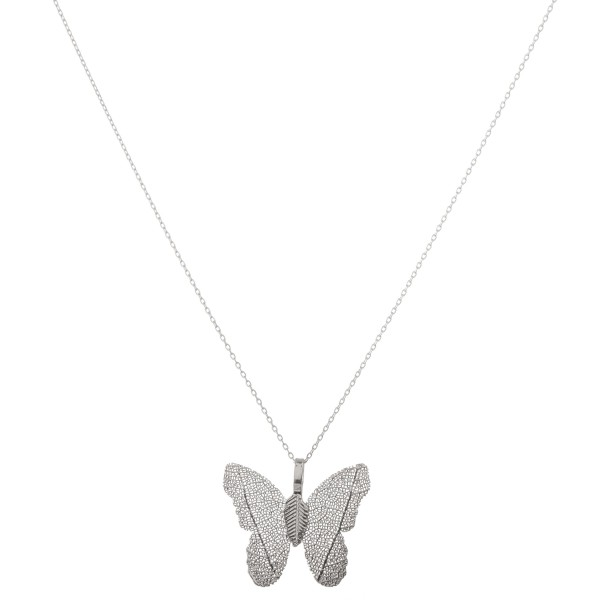 "White Gold dipped filigree butterfly pendant necklace.  - Pendant approximately 1""  - Approximately 18"" L  - 2"" extender"